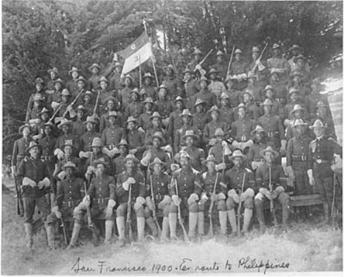 African American soldiers of Troop E, 9th Cavalry Regiment before shipping out to the Philippines in 1900. Up to 7,000 Blacks saw action in the Philippines.
